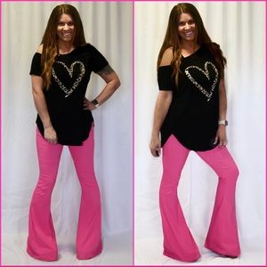 "Hot Pink Bell Bottom Jeans / S-XL / 34"" Inseam"